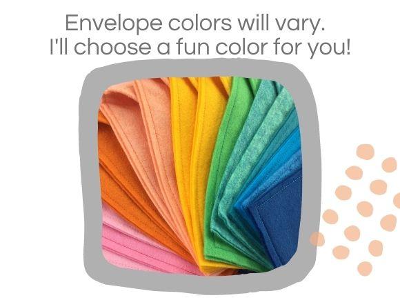 rainbow of felt envelopes