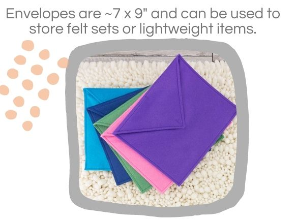 five felt envelopes spread out with size text