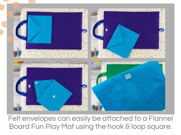 4 felt envelopes shown on travel mats