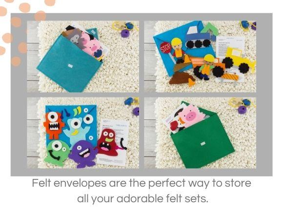 4 felt envelopes showing how to store felt sets