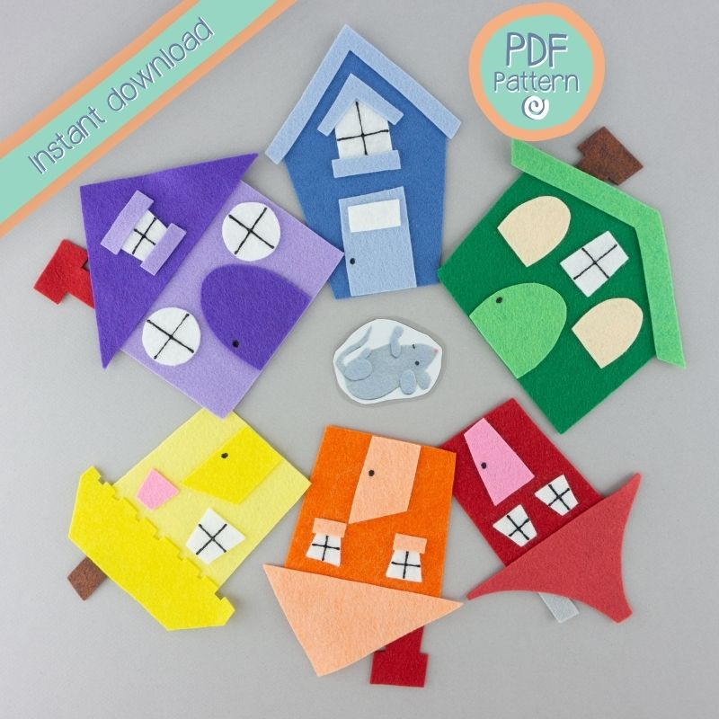 Felt Board houses around a laminated mouse