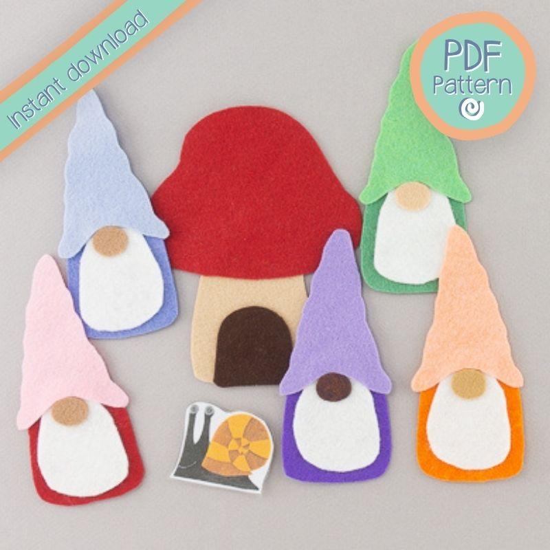 five felt gnomes and mushroom PDF pattern text