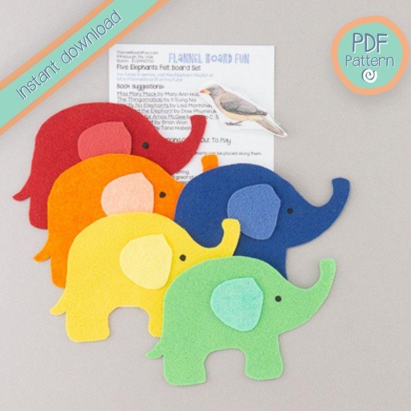 Five elephants with lyric card PDF pattern text