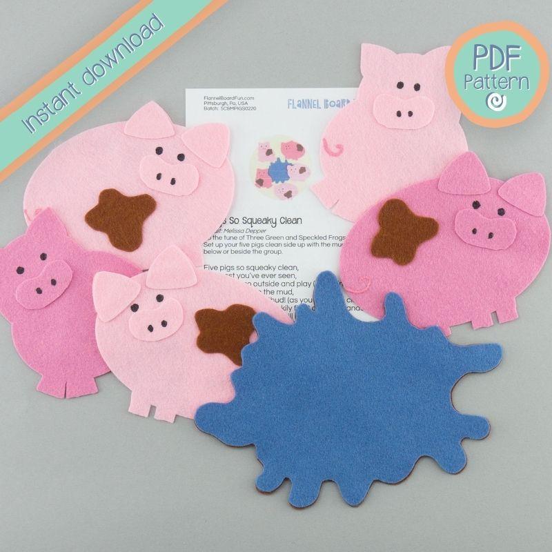 five muddy pigs with felt water and lyrics, PDF pattern text