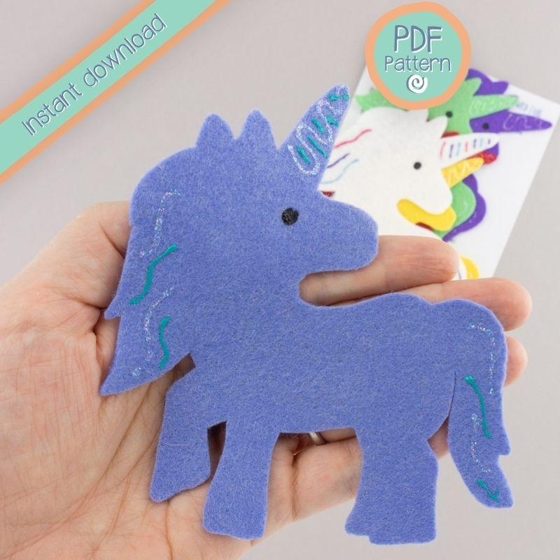 blue felt unicorn with PDF pattern text