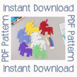 Five unicorns felt board set with PDF pattern text