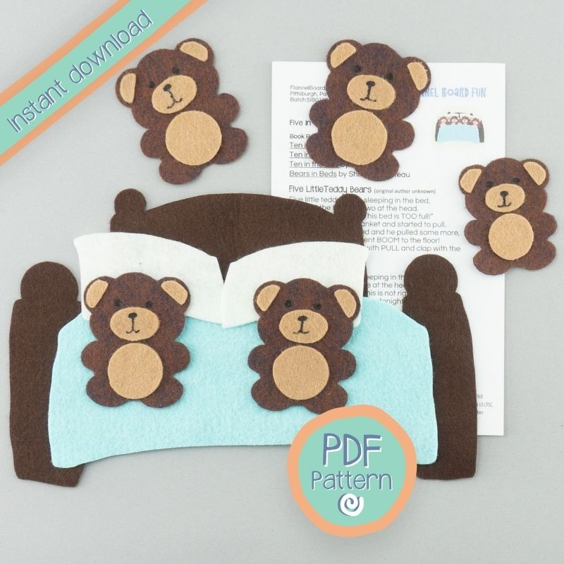 five felt bears and bed on desk with PDF pattern text