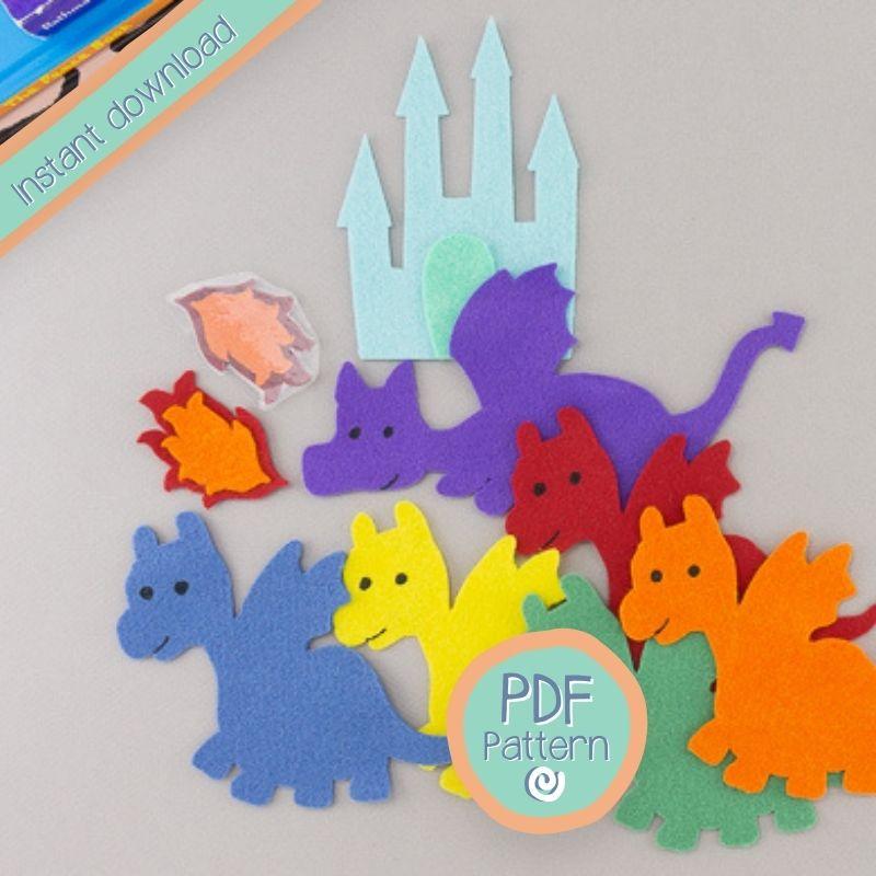 cute felt dragons with PDF text