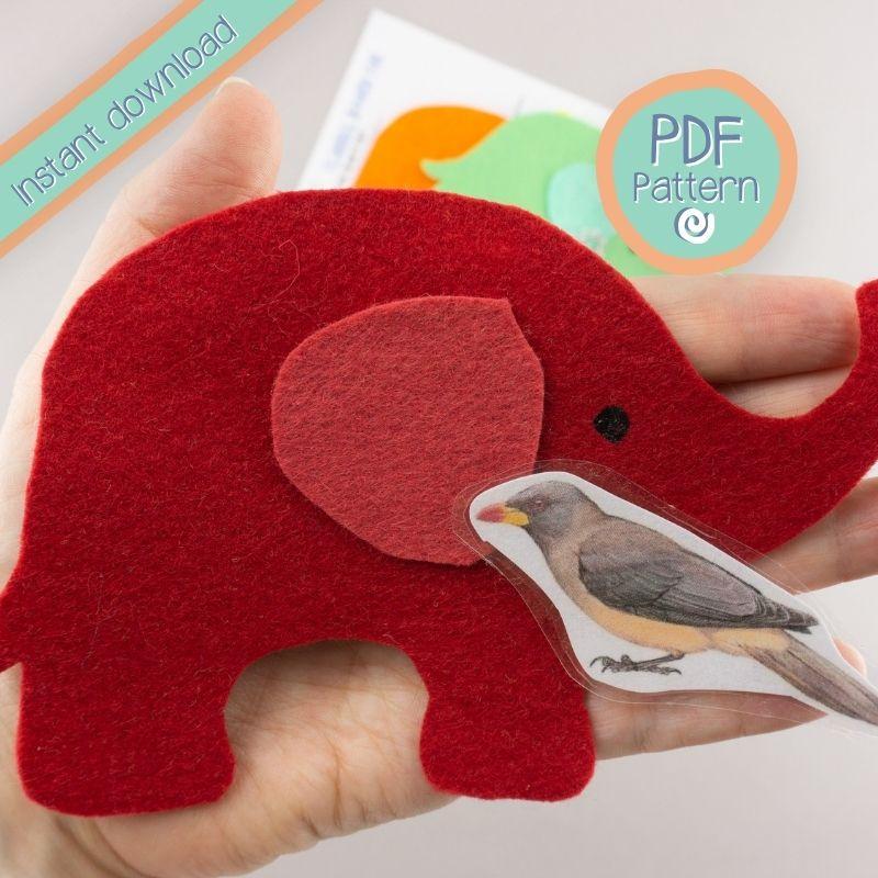 Close up of red elephant felt board set