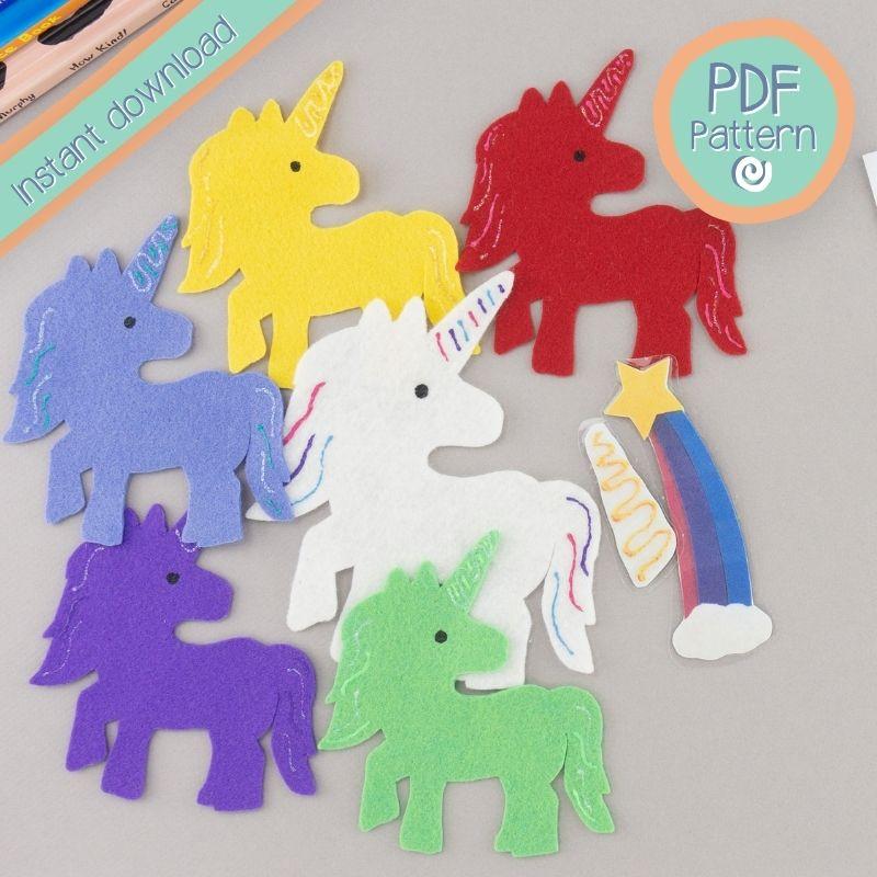 Five felt unicorns with PDF pattern text
