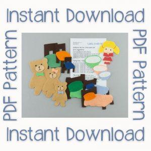 Goldilocks felt boar with Instant Download text