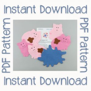 Muddy Pigs felt board set with Instant Download text