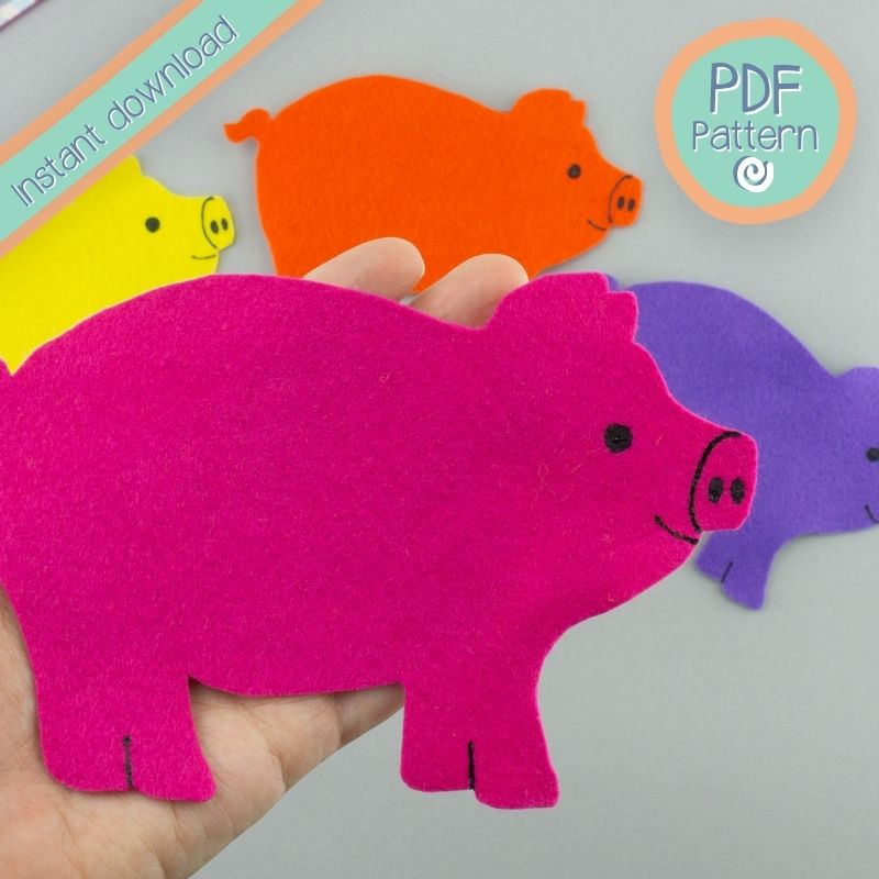 bright pink felt pig close up with PDF pattern text