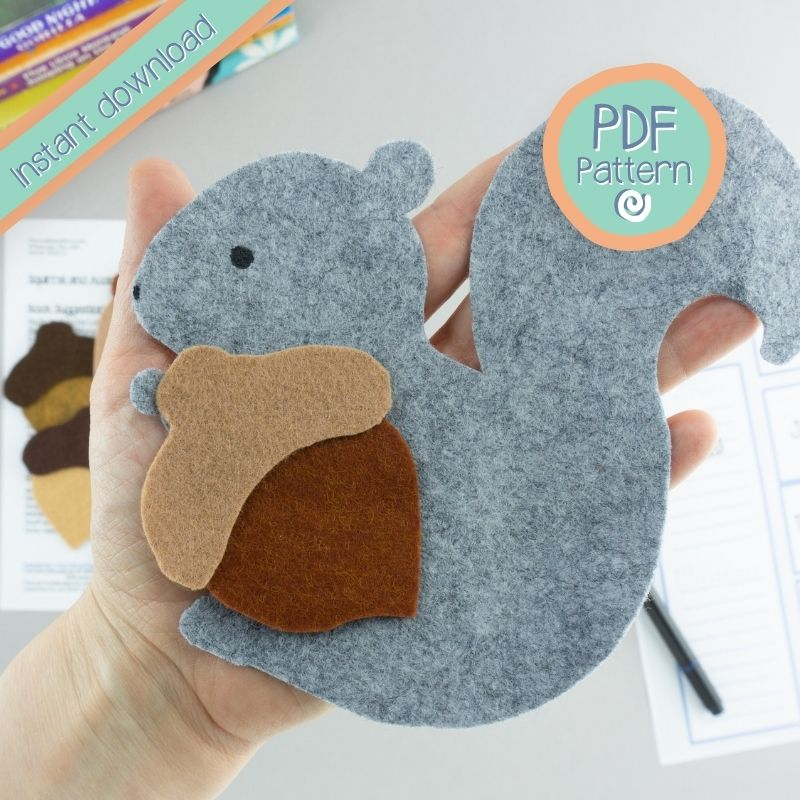 Felt Board Squirrel and Acorn close up with PDF Pattern text
