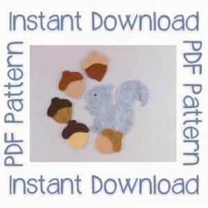 PDF Pattern Instant Download Squirrel Felt Board Set